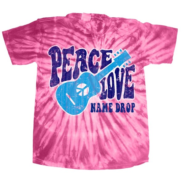 Peace Love Fuschia Short sleeve Tie Dye