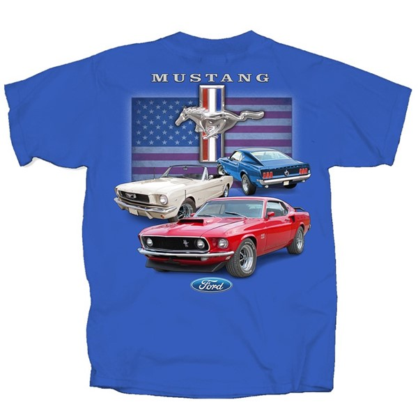 MUSTANG CLASSIC RED WHITE BLUE FLAG
