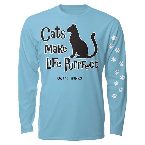 CATS MAKE LIFE PURRFECT - SKY BLUE LS