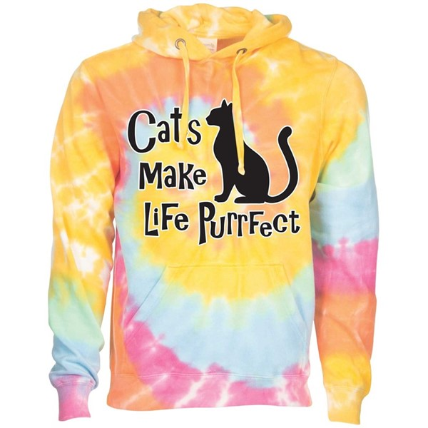 CATS MAKE LIFE PURRFECT - ARIEL TIE DYE HOODED T