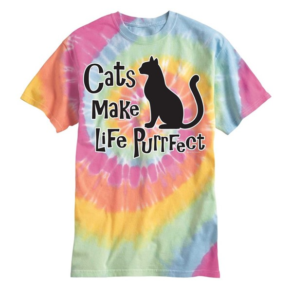 CATS MAKE LIFE PURRFECT - ARIEL TIE DYE SS TEE